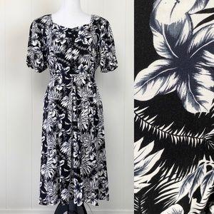 Vintage Erika Floral Hawaiian Floral Print Dress